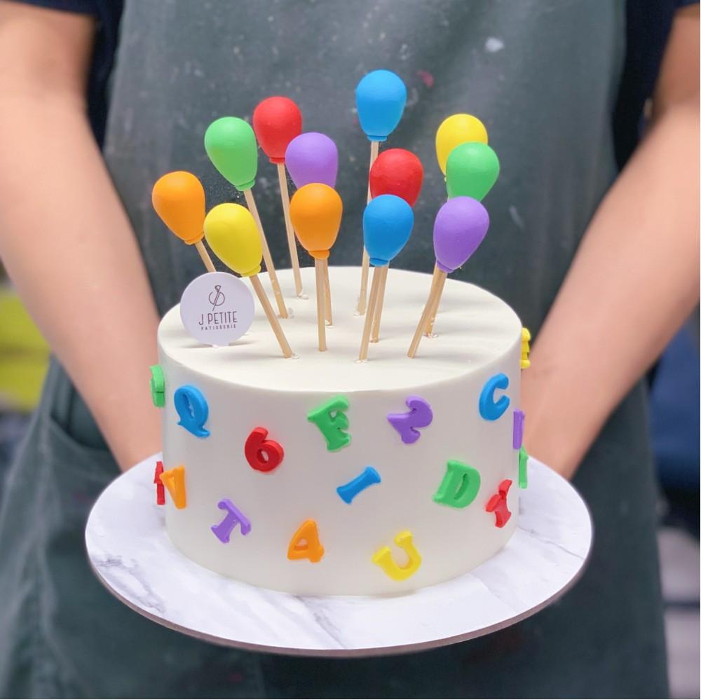 Rainbow Alphabets and Balloons Cake
