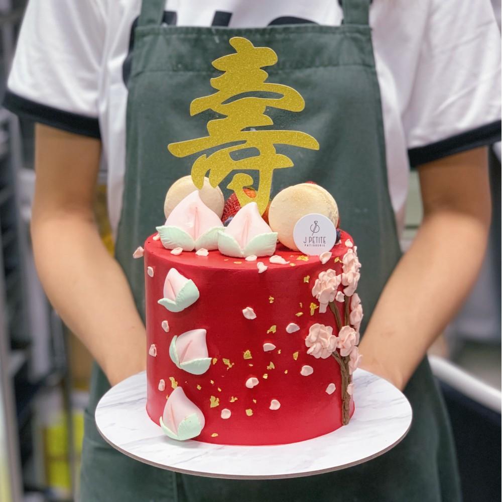 Red Longevity Floral Cake