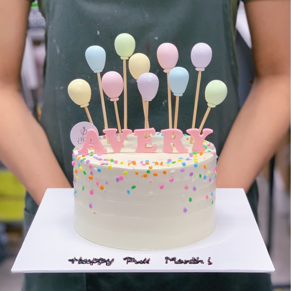 Pastel Sprinkles and Balloons Cake
