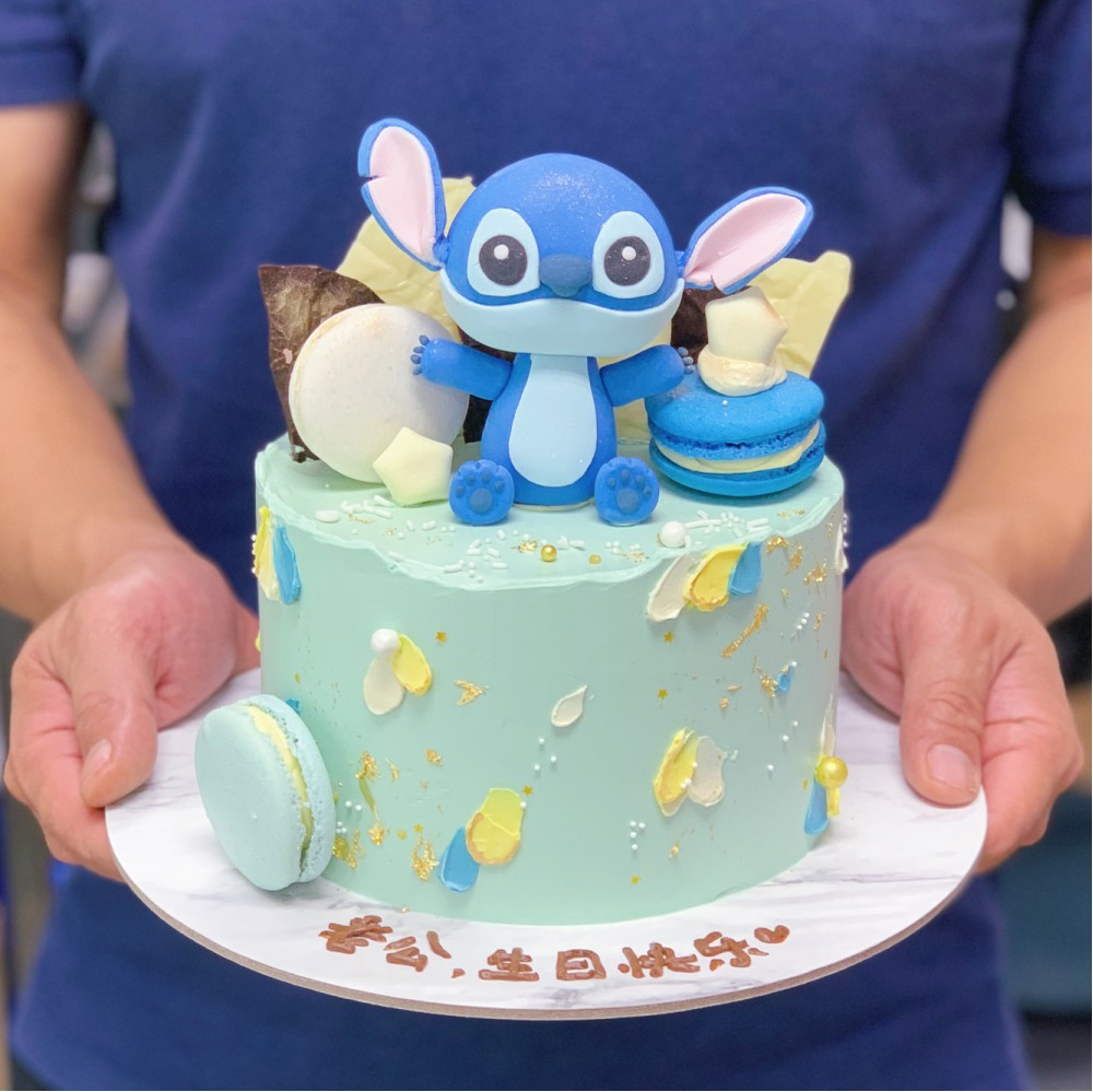 Stitch with Macarons and Chocolate Shards Cake