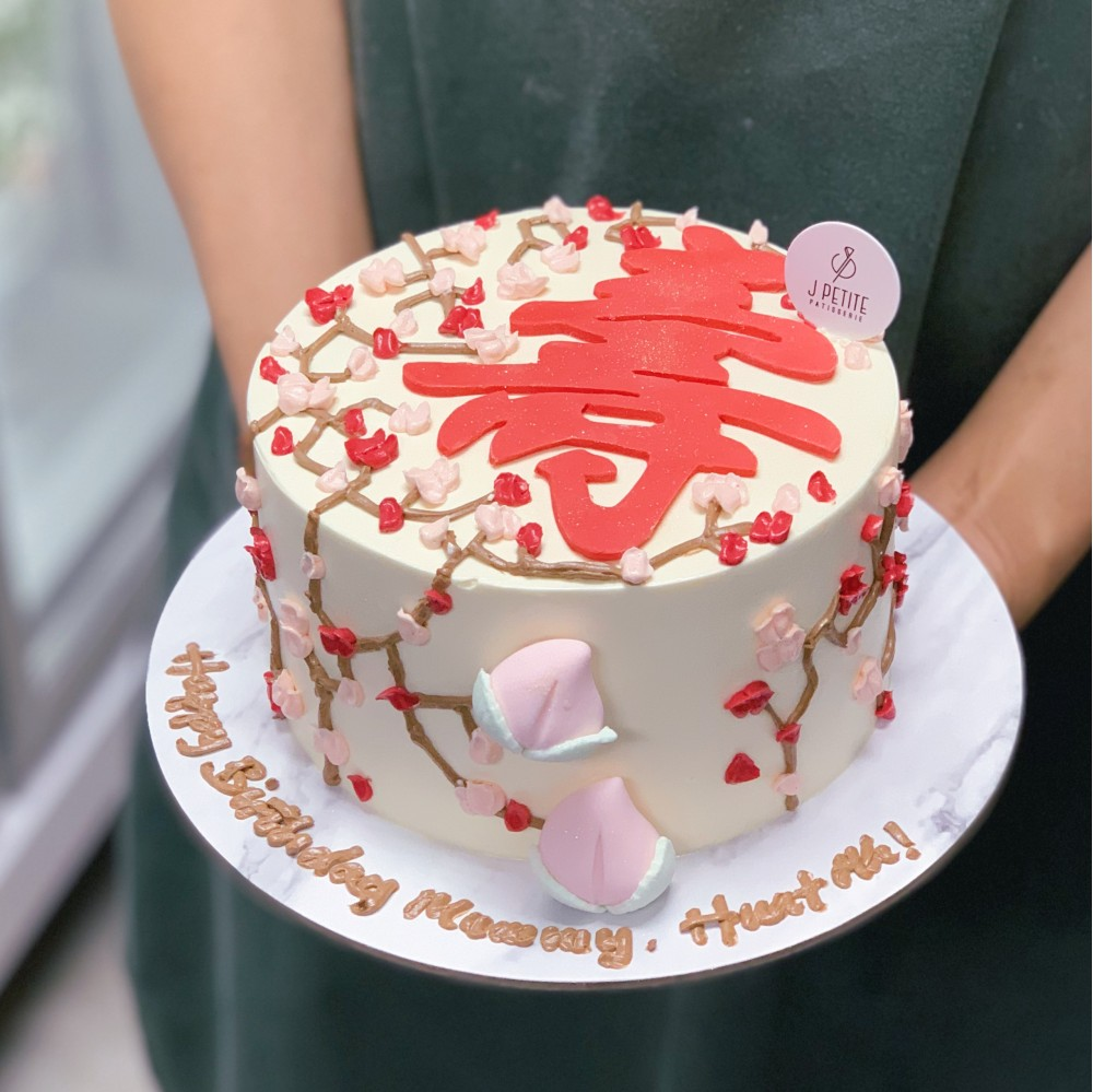 Longevity Piped Floral Cake