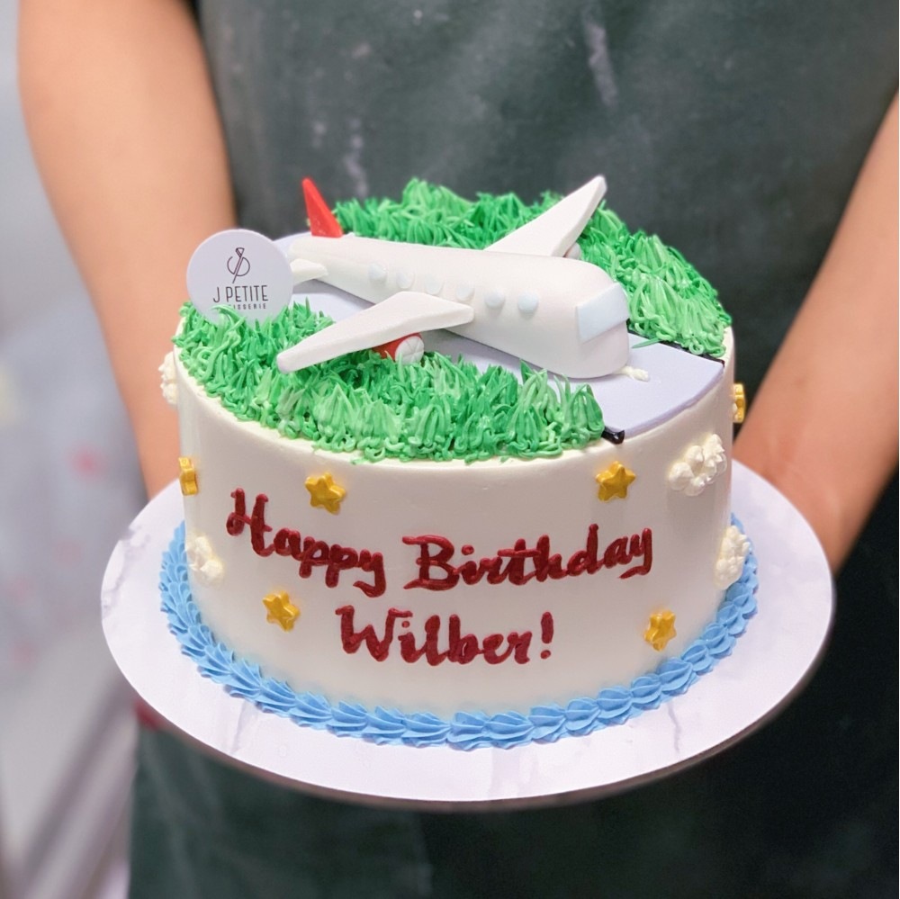 Airplane on landing strip Cake