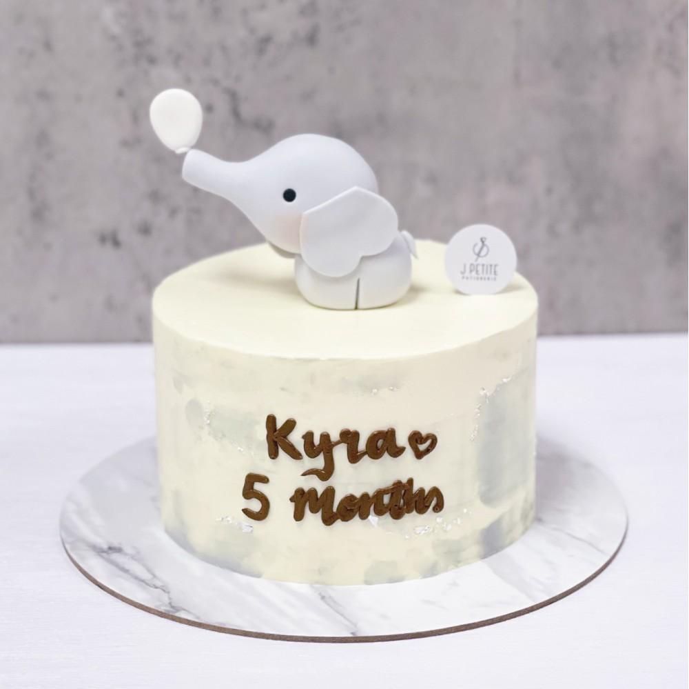 Minimalist Baby Elephant Cake