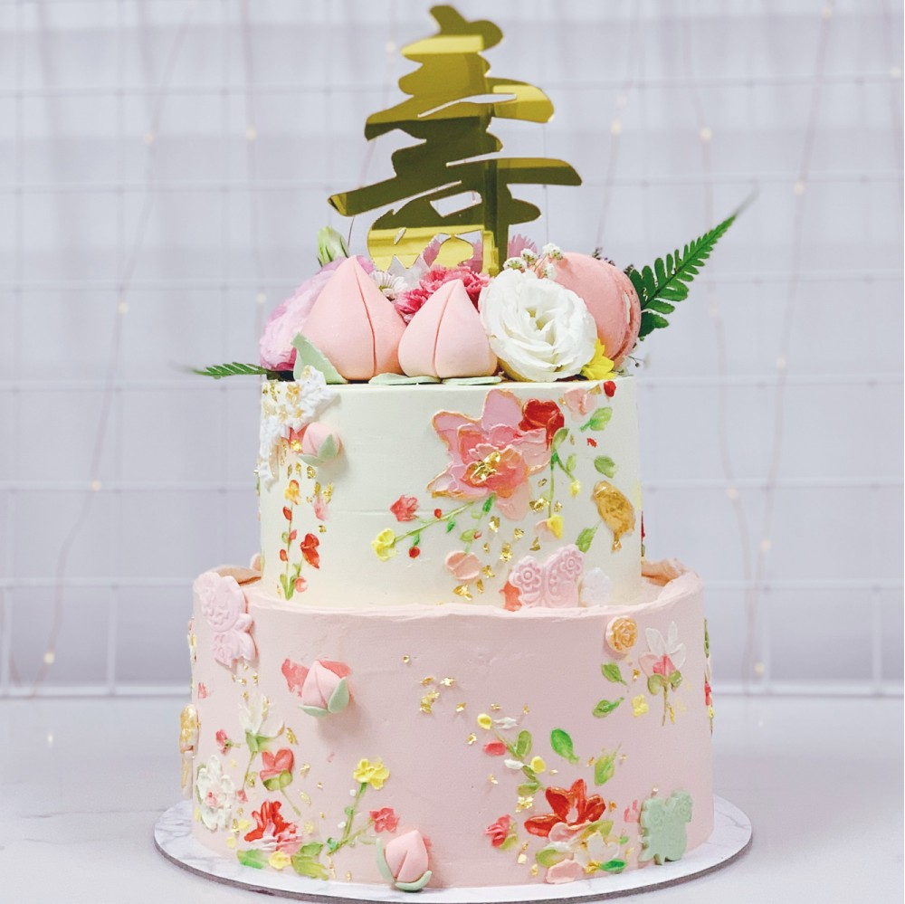Handpainted Embroidery and Floral Longevity Cake
