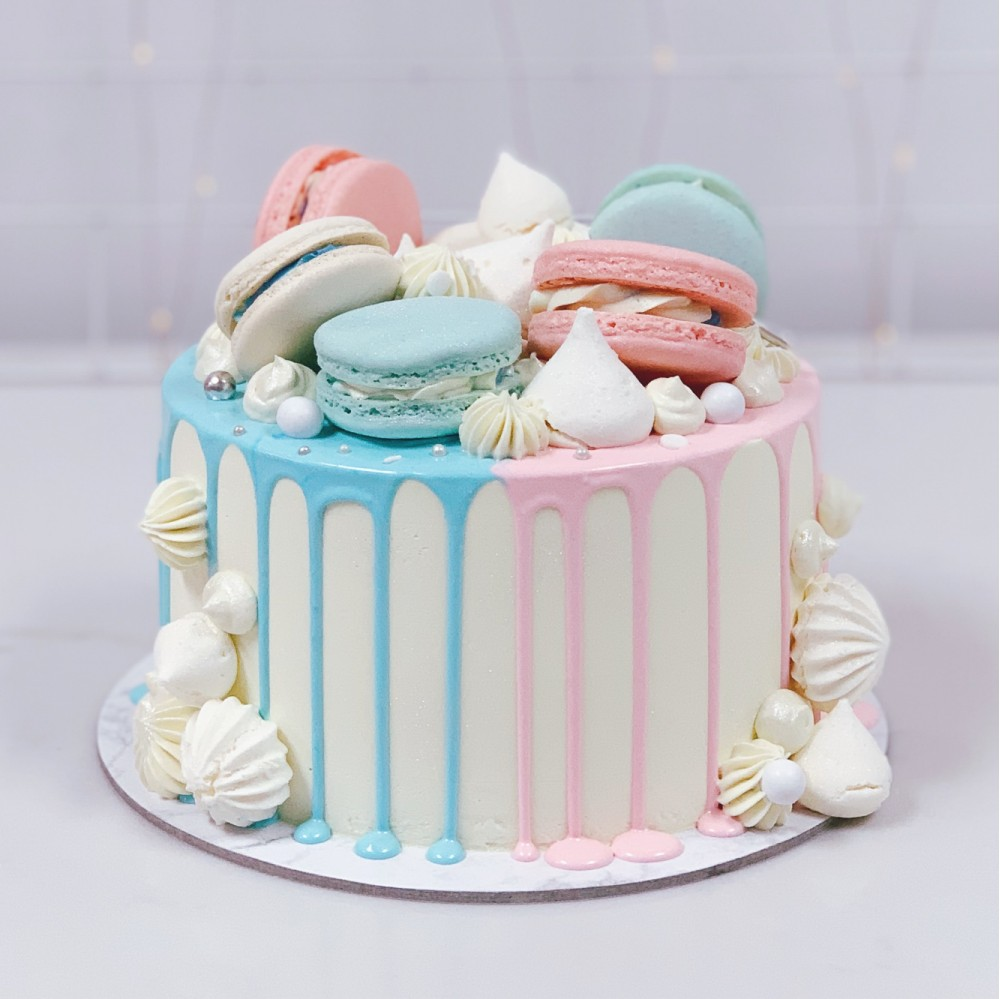 Blue and Pink Macaron Drip Cake
