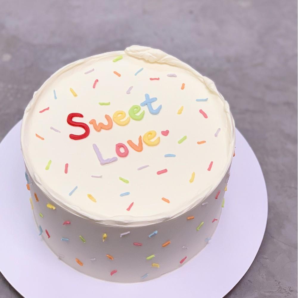 Minimalist Sprinkles Message Cake
