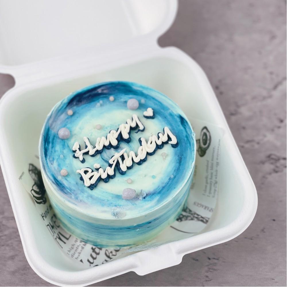 Blue Watercolour Korean Bento Cake