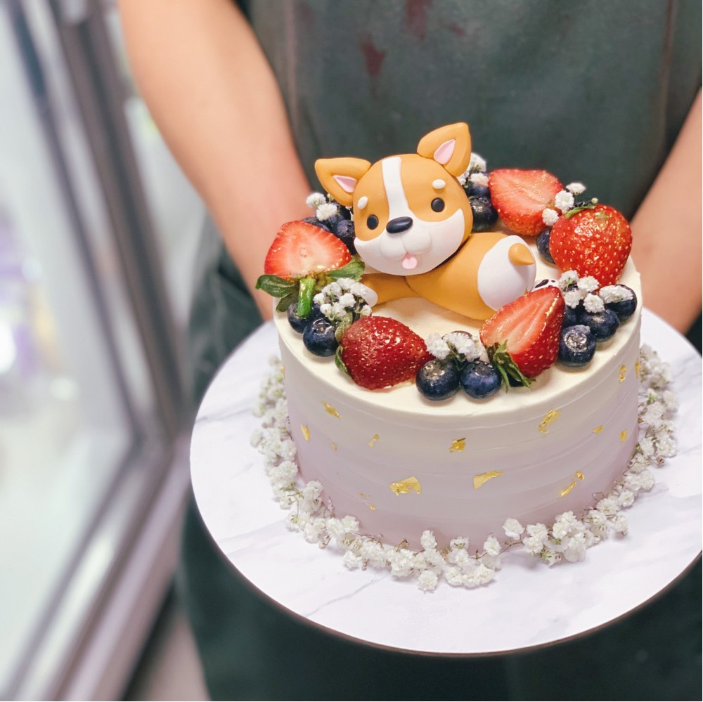 Ombre Berry with Corgi Cake