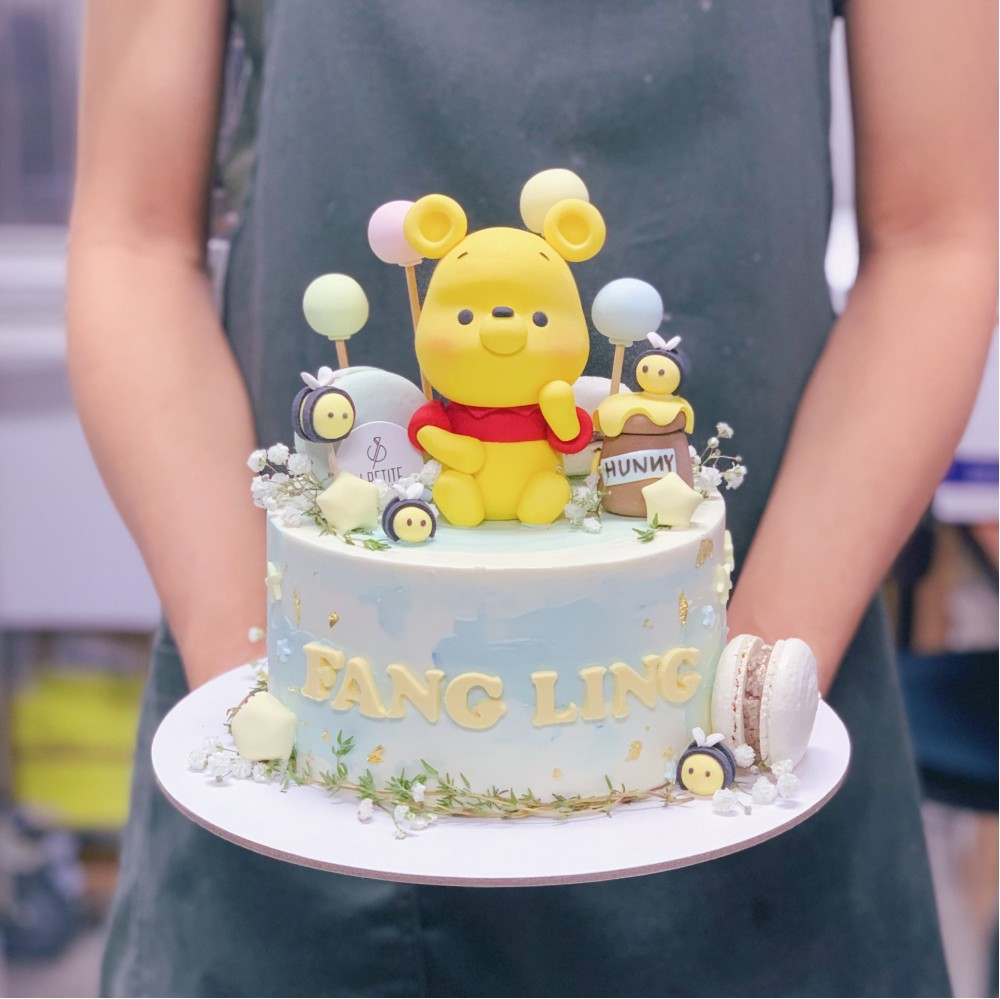 Pooh with Honey Bees Field Themed Cake