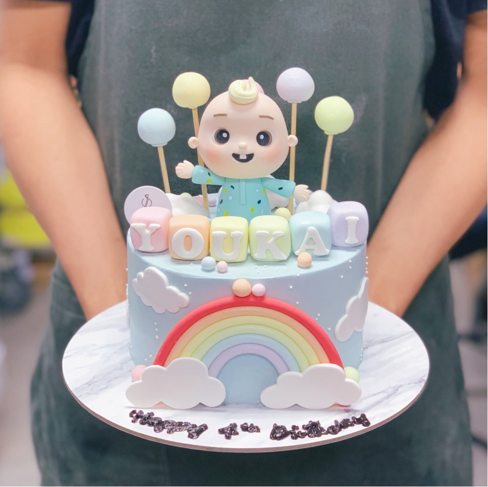 Baby JJ Rainbow Above the Clouds Cake