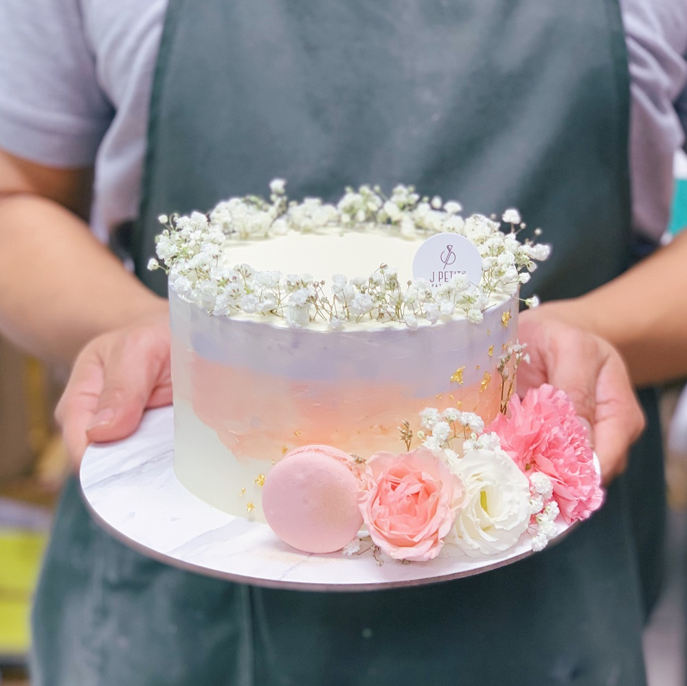 Sunset Ombre Floral Cake