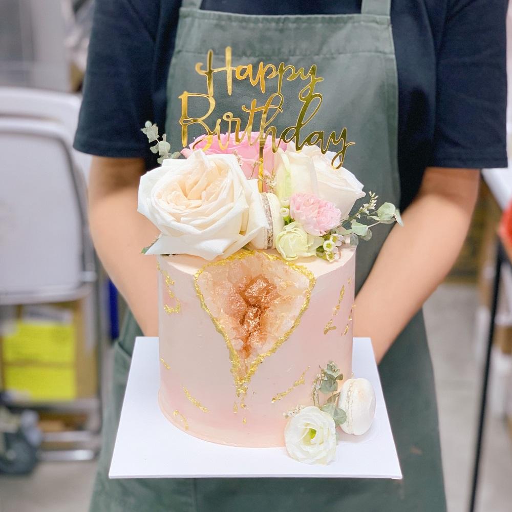 Elegant Floral Geode Cake