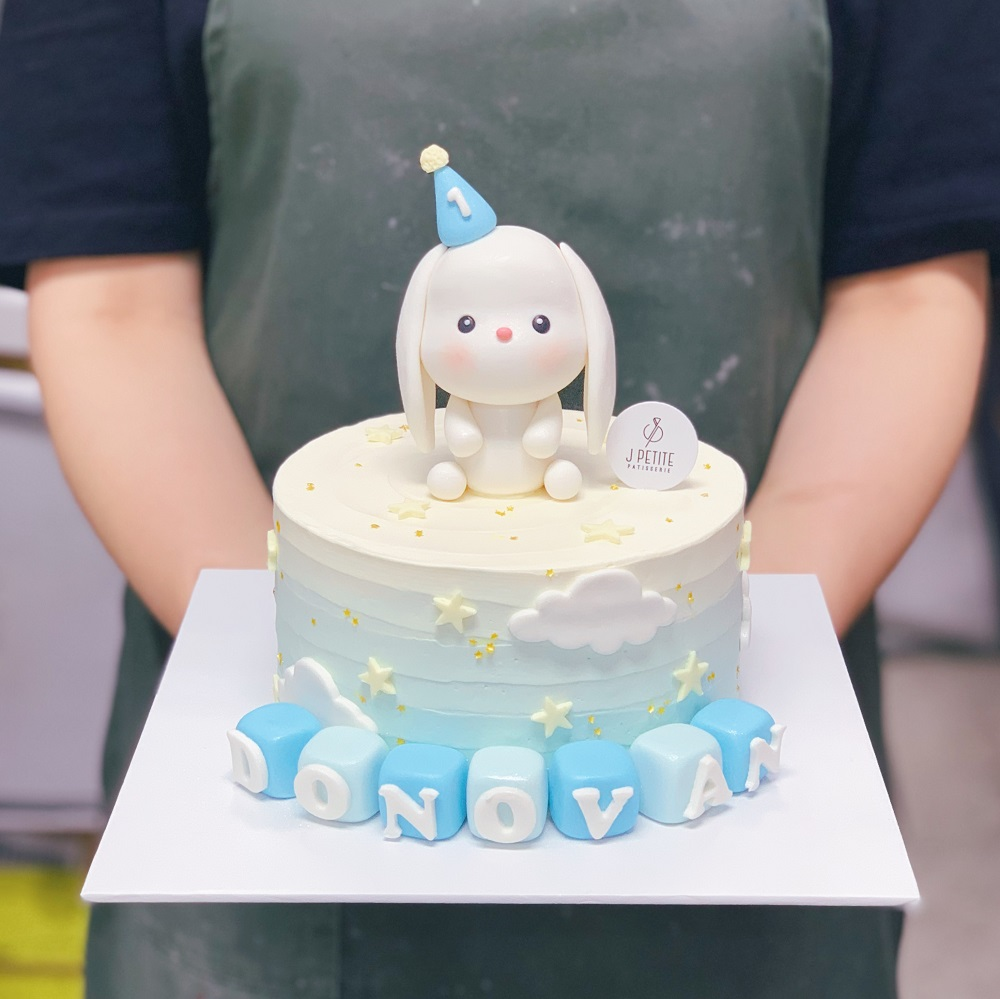 Bunny, stars and cloud on Ombre Cake