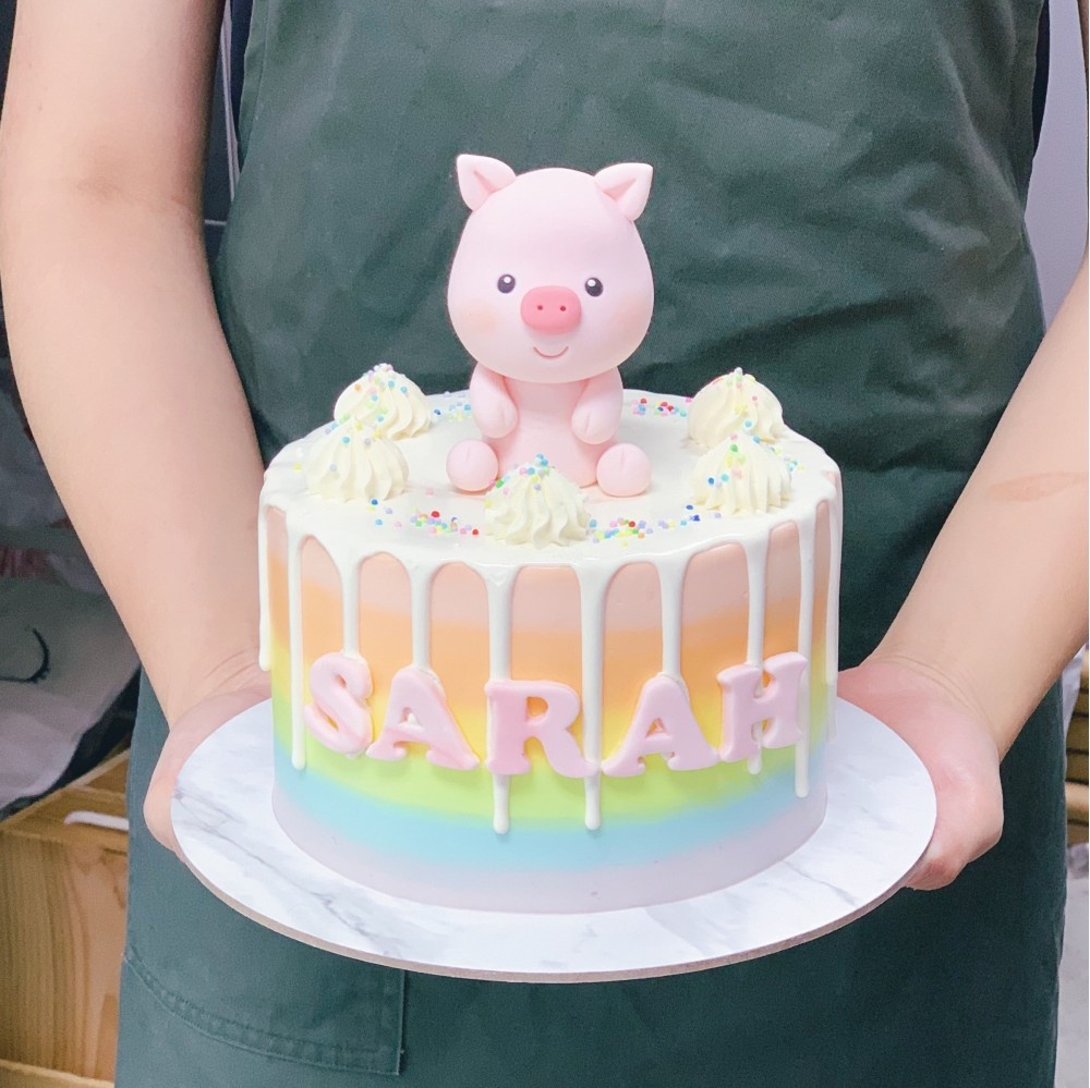 Pastel Rainbow with Piggy Drip Cake