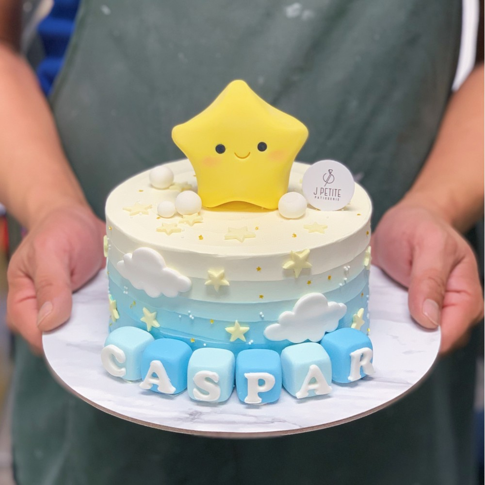Baby Star and Clouds on Ombre Cake