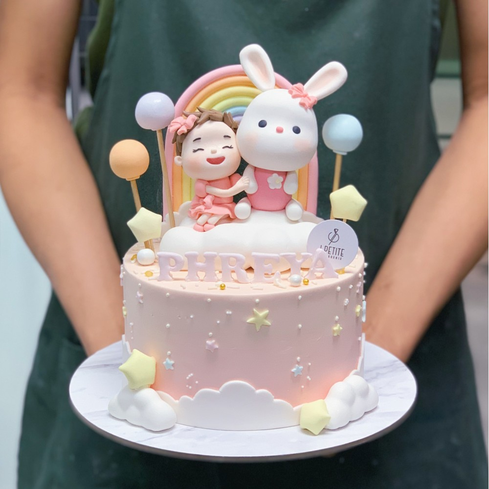 Baby Girl and Bunny Dreamland Cake